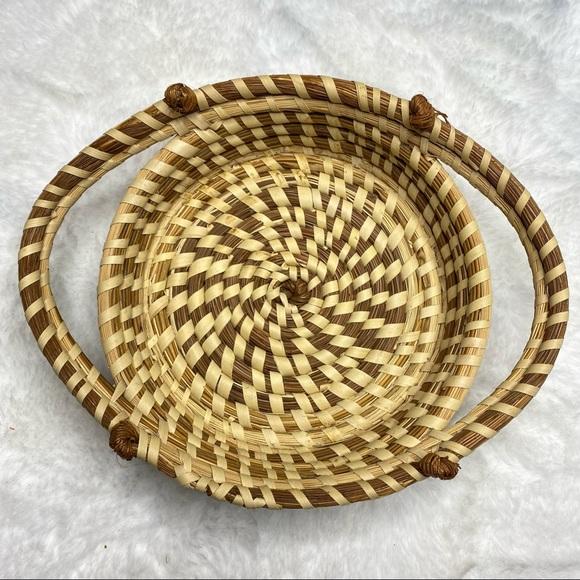 Vintage Oval Boho Coil Wicker Basket Wall Art